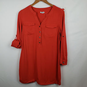 Old Navy Womens Henley Tunic Sz S Long Sleeve Red